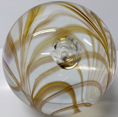 Lovely Langham England Ornate Orange Swirls And Central Bubble Glass Paperweight