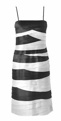 Phase Eight Kate Black White Cocktail Party Bandage Straight Pencil Dress 10-12