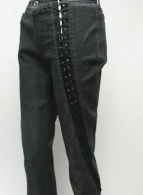 """VINTAGE Dolce & Gabbana Lace Up Jeans Black Flared Trousers Size 29"""" 10 12"""