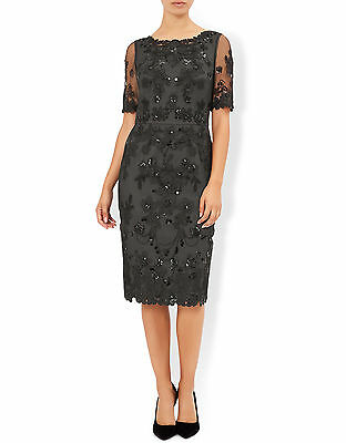 New MONSOON Gretchen Black Lace Occasion Cocktail Pencil Dress Size 14 BNWT £149
