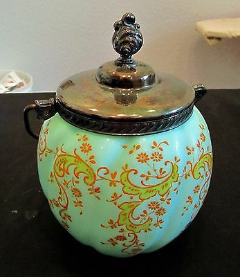 Antique Victorian Melon Biscuit Cracker Jar Hand Painted Silver Top Handle Exc
