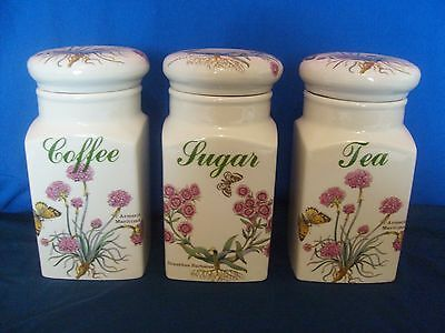 Florabunda Regal Collection Ceramic Coffee Tea & Sugar Storage Jars