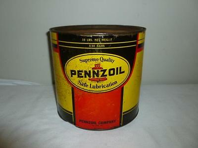 Vintage Pennzoil 10lb Lubricant Grease Tin Can Oil City PA-BL