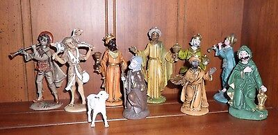 10 Piece Vintage Plastic Nativity Set - made in Italy - Incomplete