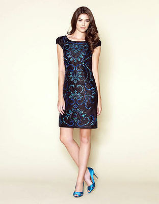 New Monsoon Aurelia Black Turquoise Blue Embroidered Shift Dress SIze 18 BNWT