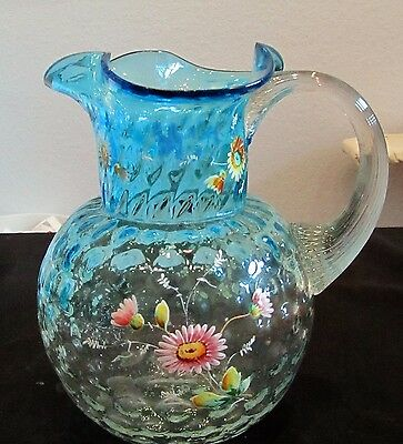 Antique Victorian Blue Coin Dot Hand Painted Blown Pitcher Exc Condition