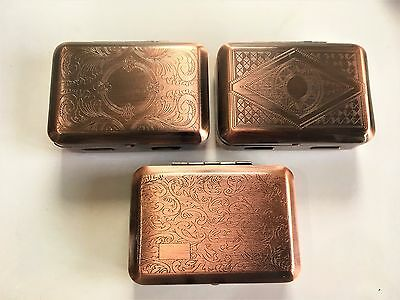 Metal Tobacco Tin Box with Paper Holder Choice of 3 Designs COPPER FINISH