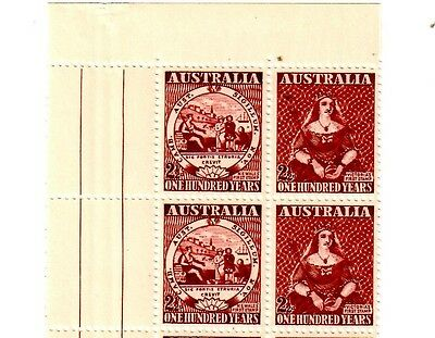 1950 100 years First stamp of Vic & NSW 2 1/2 P MNH Block of Four stamps