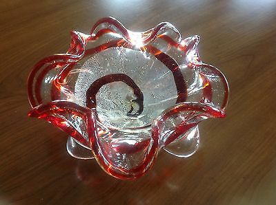 Vintage Murano Glass Folded Bowl Clear w Red Swirls, Silver Flakes & Aventurine