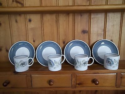 "SUSIE COOPER ""glen mist"" COFFEE CANS AND SAUCERS X 4"