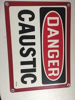 "Danger Caustic Metal Sign Style 104 - 10x14"" - Pool Room & Hazard Signage"