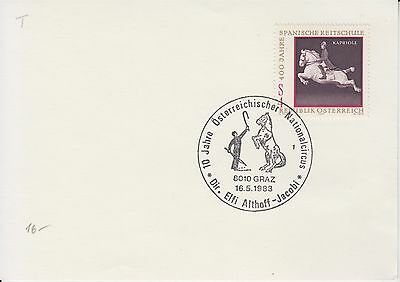 Horses 10 Years Austrian National Circus Graz 1983 pm on card Nationalcircus