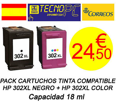 Pack Cartuchos Tinta Compatible HP 302XL Negro + Color NO OEM