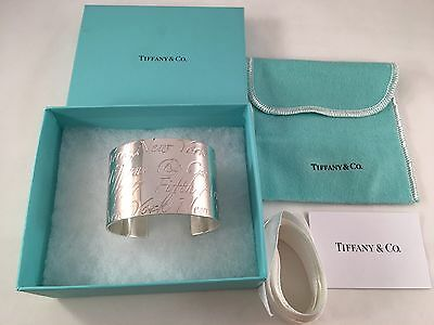 Tiffany & Co Sterling Silver Notes Wide Cuff Bangle Bracelet . Rare