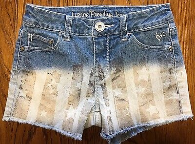 Justice Girls Simply Low Cutoff Glitter Shorts Size 12S Ombré Light Wash School