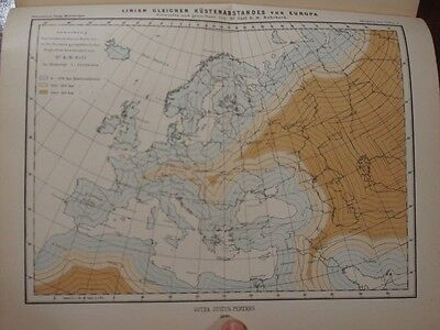 """2 Maps -""""Messages from Justus Perthes"""" - 1890 - Europe Coastal map and more"""