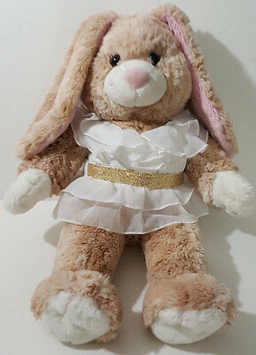Rabbit Plush  build-a-bear brown Bunny pink ears white dress free shipping
