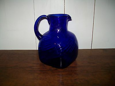 Rare Large Blue Glass Antique Hand Blown Swirl Squared Pitcher