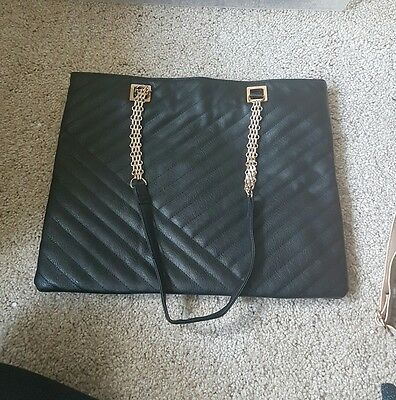 Primark black faux leather handbag with gold chain