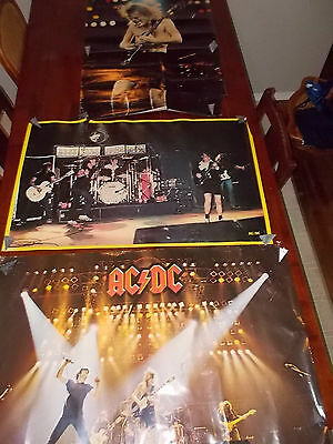 3 Vintage AC/DC Posters rare posters 1981 1979 Poor Condition