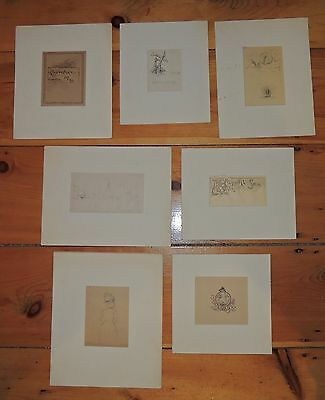 Lot of 7 Early Pencil and Ink Drawings by Reynolds Beal, Listed American Artist