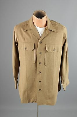 Vtg WWII Men's Wool Dress Uniform Shirt w/ Gas Flap sz M 15x33 #2182 WW2