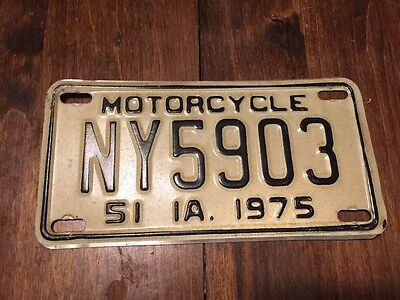 Iowa Motorcycle License Plate Tag 1975