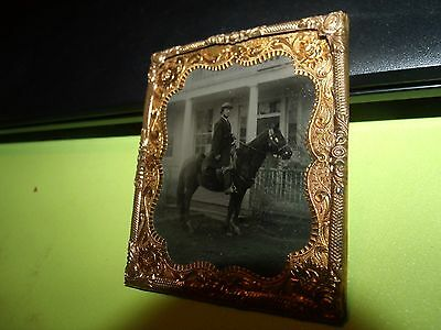 Antique Framed Tintype Photograph Colonel Horse Gold High Lighted Civil War Era