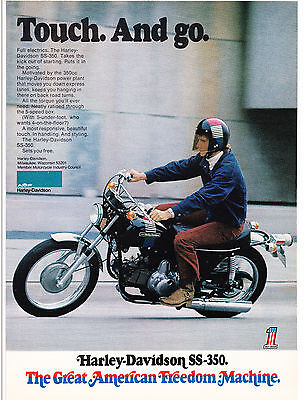 Original Print Ad-1973 AMF HARLEY DAVIDSON SS-350 Touch. And Go. Full Electrics.