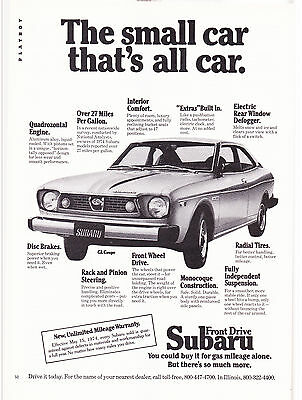 Original Print Ad-1974 The Small Car That's All Car: FRONT DRIVE SUBARU GL COUPE