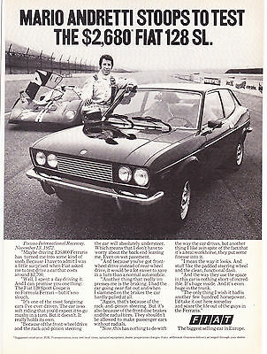 Original Print Ad-1973 MARIO ANDRETTI STOOPS TO TEST THE $2,680 FIAT 128 SL-Nice
