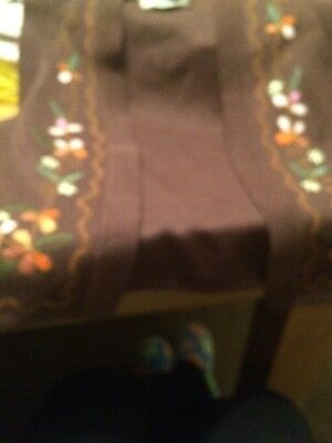 Pretty Brown Waistcoat With Pretty Floral Design Size 12