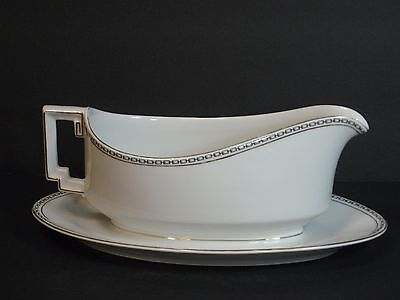 Imperial H & C Selb Bavaria Heinrich & Co Gravy Boat W Attached Underplate, Nice