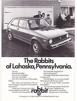 Original Print Ad-1975 VOLKSWAGON-The RABBITS of Lahaska Pennsylvania-Family/Car