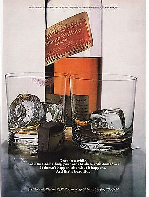 Original Print Ad-1973 JOHNNIE WALKER RED. His & Hers Glasses-Red Lipstick Marks