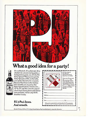 Original Print Ad-1973 Red & Black P.J. is Paul Jones and Smooth. Party Spread