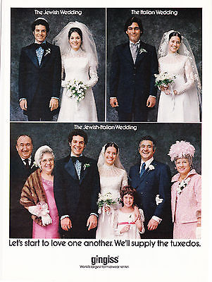 Original Print Ad-1973 The Jewish-Italian Wedding-Gingess Tuxedos-LoveOneAnother