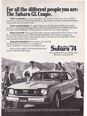 Original Print Ad-1974 For all the different people you are: THE SUBARU GL COUPE