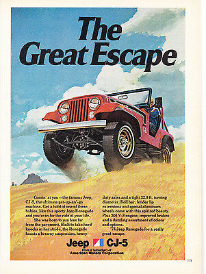 Original Print Ad-1973 The Great Escape/JEEP CJ-5 RENEGADE/Red Jeep On 2 Wheels!