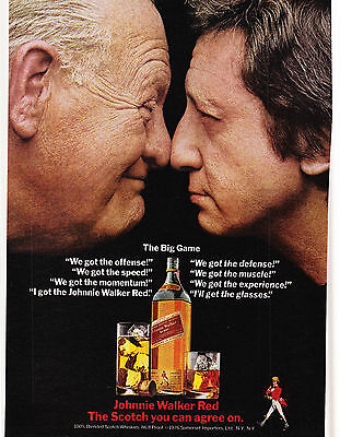 Original Print Ad-1976 JOHNNIE WALKER RED-SCOTCH You Can Agree On-The Big Game