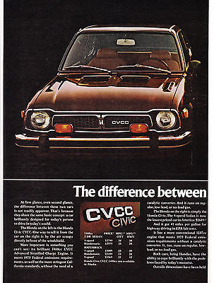 2 Page Original Print Ad-1975 What's The Difference Between HONDA CCVC & CIVIC-