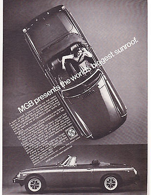 Original Print Ad-1976 MGB presents the world's biggest sunroof-Full Convertible