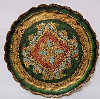 VIntage Florentine Tray Wooden Painted Scallop Edge Italy 9.5 inch Green