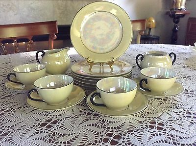 Vtg Atlantic Czechoslovakia Yellow Luster Ware Mother Of Pearl 16 PC China Set