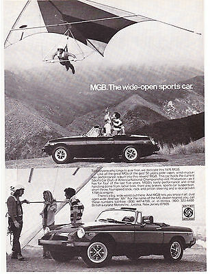 Original Print Ad-1976 MGB The Wide-Open Sports Car-Hang Glider Black&White Img