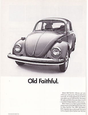 2 Page Original Print Ad-1977 VOLKSWAGON BEETLE/RABBIT-Old Faithful/New Faithful