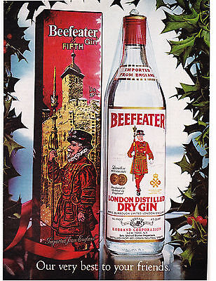 Original Print Ad-1976 Our Very Best For Your Friends BEEFEATER GIN-Gift Wrapped