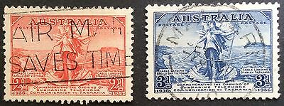 1936 Tasmanian Telephone Cable 2d 3d Set of 2 Used.