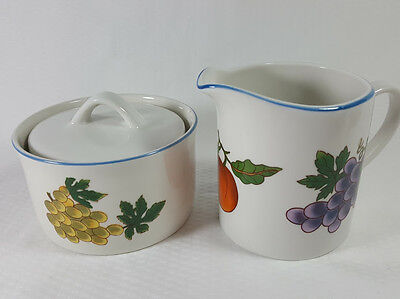 TABLETOPS UNLIMITED ESSENCE Creamer & Sugar Bowl & Lid Fruit Blue Rim