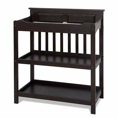 Contemporary Dark Brown Wood Baby Nursery Room Changing Table